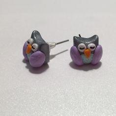 Cute Sleepy Owl earrings Polymer Clay Jewelry Sweet little sleepy owl getting ready for the spring!