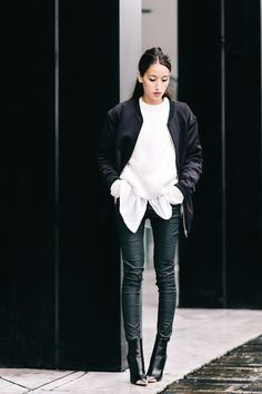 An Incredibly Cool Black And White Outfit For Fall and Winter