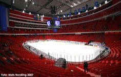 Inside the Ericsson Globe Arena in Stockholm, Sweden. This is the venue for the 2016 Eurovision Song Contest.