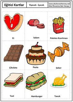Okul öncesi Yiyecek-içecek eğitici kartları