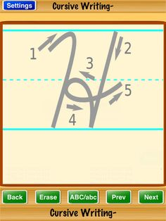 PreK-1 - Cursive Writing letters upper/lower app - using one letter daily to review strokes