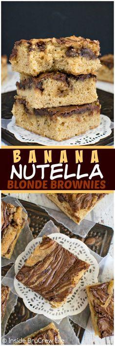 Banana Nutella Blonde Brownies
