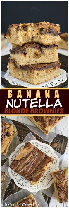 Banana Nutella Blonde Brownies - swirls of chocolate will make these soft bars your new favorite way to use up bananas! Awesome dessert recipe!: http://insidebrucrewlife.com/2016/08/banana-nutella-blonde-brownies