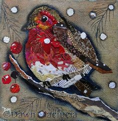 Robin 4  Original Framed Torn Paper Collage Art by DawnsGallery, £65.00