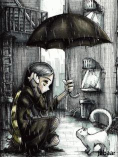 Музыка и картинки на телефоны. Дождь в старом городе.