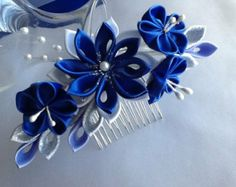 Hair Comb - Royal Blue Cobalt Blue Silver and White Kanzashi Flowers with Pearls - Wedding Flowers, Bridal Headpieces Hair Accessories