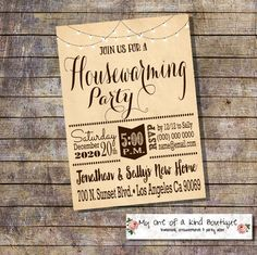 Housewarming invitation house warming party new home open house invite light string vintage digital printable invitation 13971 by myooakboutique on Etsy