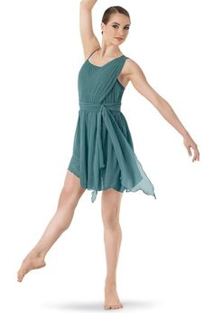 11b45525d66751 Draped Chiffon Asymmetrical Dress | Balera™ Dance Costumes Lyrical, Lyrical  Dance, Cute Dance