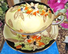 Taylor Kent Tea Cup and Saucer Large Wide Mouth Teacup Painted Flower Pattern | eBay