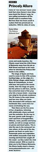 Palazzo Belmonte - Rassegna stampa - Princely Allure - Hotel 4 stelle a Santa Maria di Castellabate