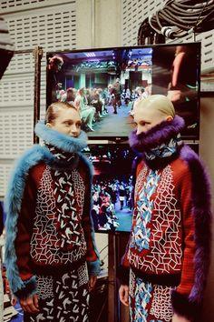 Sophie Touchet (Elite), Nastya Sten (Elite) backstage at Peter Pilotto AW14