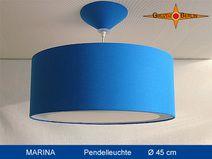 Leuchte MARINA Ø 45 cm Pendellampe mit Lichtrand. In einem wunderschönen Blau beeindruckt diese Hängelampe.