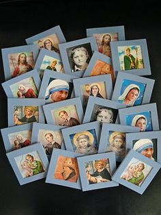 Gift Idea - Saints Memory Game This idea comes from my creative sister-in-law, the super-fun Aunt Kelly. She made us a set using our fa. Catholic Crafts, Catholic Kids, Catholic Saints, Idees Cate, Catholic Schools Week, Faith Crafts, All Souls Day, Christian Crafts, All Saints Day