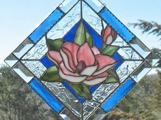 Pink southern magnolia stained glass window panel by ClearerImage, $85.00