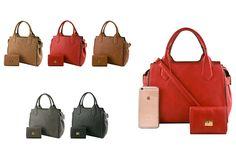 #FashionHandbags #DesignerHandbags #Designertotebag  #Designertotebags #tote   #totebag   #womantotebag  #2in1  WWW.WHOLESALENEOBAGS.COM  GL3428 DESIGNER 2 IN 1 SIDE BELT ACCENT TOTE BAG  Zipper top closure  Textured faux leather  Rear zipper pocket  Protective metal foot base  Inside lining with open/zipper pockets  14 inch handles & 51 inch adjustable strap  14 (W) x 6 (D) x 9 (H) inches  Extra wallet  5 (W) x 2 (D) x 3.5 (H) inches  Compare with iPhone 6s Plus
