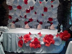 red wedding paper flowers backdrop