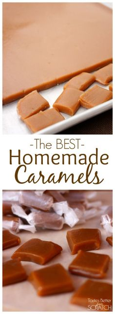 Caramels We make these homemade caramels every year for friends and family during the holidays--they're the BEST caramels!We make these homemade caramels every year for friends and family during the holidays--they're the BEST caramels! Just Desserts, Delicious Desserts, Dessert Recipes, Yummy Food, Homemade Candies, Homemade Caramels, Homeade Candy, Homemade Candy Recipes, Homemade Gummies