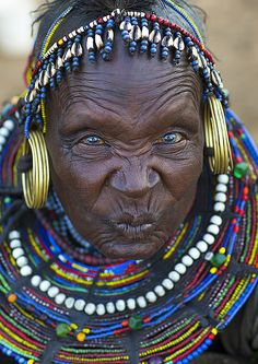 A Pokot Woman Wears Large Necklaces Made From The Stems Of Sedge Grass, Baringo County, Baringo, Kenya © Eric Lafforgue
