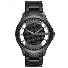 Reloj Armani Exchange con caja y bisel de acero inoxidable en tono gunmetal extensible de brazalete de tres líneas carátula con diseño de cuadros y ventanas translucidas.
