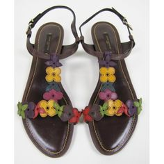 Louis Vuitton Leather Flower Flat Sandals