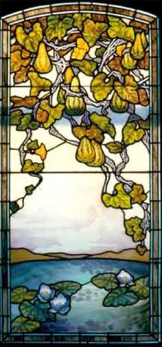 Jacques Gruber - Coloquintes (Squashes) with Water Lilies Leaded Glass Window Panel. Painted & Etched Coloured Glass with Lead Came. Stained Glass Designs, Stained Glass Art, Stained Glass Windows, Mosaic Glass, L'art Du Vitrail, Alphonse Mucha Art, Art Nouveau Architecture, Leaded Glass, Beveled Glass