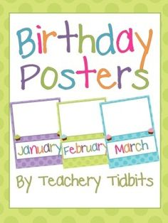 "These birthday posters match my Owls on Dots Classroom set perfectly! Group students by their birthday months and take their picture. Print the pictures out in a 4x6 size and attach them to the posters. These posters are adapted from Randi Fleming's ""Polka Dot Birthday Chart."" Find it at the link below."