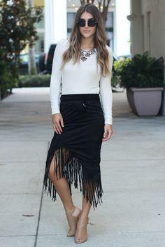 Black Suede Fringe Skirt