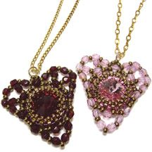 Rivoli Heart Pendant Beading Pattern by Deborah Roberti at Bead-Patterns.com