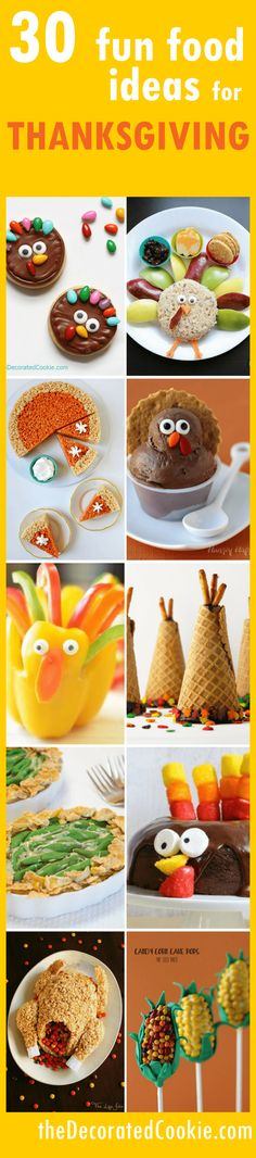 A roundup of fun food ideas for Thanksgiving! With links to tutorials.