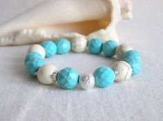 Howlite Turquoise Stone Stretch Bracelet/ by CloudsOfFantasy, $15.00