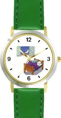 Diddle Diddle Dumpling, My Son John, Sleeping - from Mother Goose by Artist: Sylvia Long - WATCHBUDDY® DELUXE TWO-TONE THEME WATCH - Arabic Numbers - Green Leather Strap-Size-Children's Size-Small ( Boy's Size & Girl's Size ) WatchBuddy. $49.95