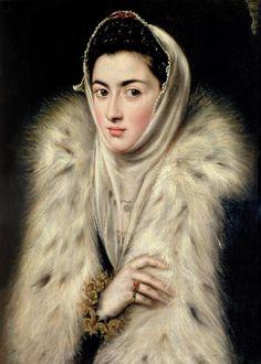 La dama del armiño (The lady in a fur wrap), 1580. La dama de armiño es una obra tradicionalmente atribuida a El Greco, pero cuya autoría es muy discutida. Las más recientes investigaciones, especialmente las de las historiadoras Carmen Bermis y María Kusche la atribuyen a la pintora Sofonisba Anguissola. Se exhibe en una sala de la colección particular de Pollok House en Glasgow, Reino Unido.
