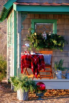 Love this Christmas holiday vignette. | Home is Where the Boat Is