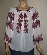 Vintage beautiful hand embroidered Romanian peasant blouse . It is hand embroidered with red and burgundy cotton embroidery on markiset ( marchizet in Romanian ) a very fine cotton fabric used for curtains or Romanian blouses . It is delicate and sheer .  Available at www.greatblouses.com Peasant Blouse, Beautiful Hands, Cotton Fabric, Folk, Burgundy, Delicate, Tunic Tops, Blouses, Curtains