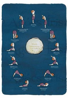 """Yoga sequence Moon salutation - Note from Mona:  I pinned this here precisely because this body is so adorably """"normal,"""" yet is capable of a full range of movement. I have people like this in my Pilates classes, and their efforts inspire me. Healthy movement at any size and shape! :-)"""