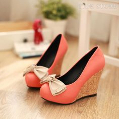 Sweet Orange Wedge Heel shoes