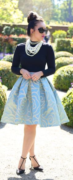 KTR Collection Shop Blue High Low Rosette Skirt by KTRstyle