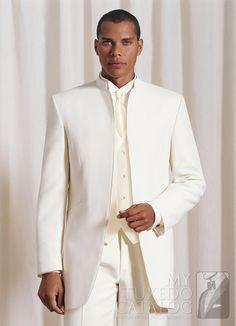 Ivory 'Mirage' Mandarin Tuxedo from http://www.mytuxedocatalog.com/catalog/rental-tuxedos-and-suits/C855-Ivory-Mirage-Mandarin-Tuxedo/