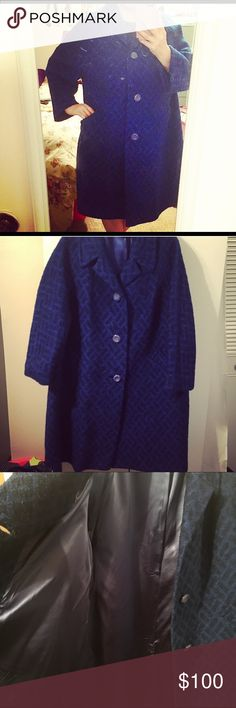 """Fabulous Vintage Cobalt Coat!!! This coat is STUNNING but is too big for me! It needs a new loving home, or I may see what it cost to get it altered! It's a beautiful cobalt blue boucle. 41"""" long, 26.5"""" inches armpit to armpit. Fully lined with original satin, no rips! Dry clean only label. Very cute swing shape, two pockets on front, has the original 3 buttons on the front! I'm a curvy 14/16 and it's very roomy on me, so would easily fit a 18/20, 1x/2x! Perfect for the vintage loving lady…"""