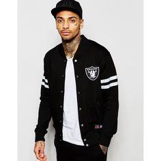 Majestic Raiders Varsity Jacket ($89) ❤ liked on Polyvore featuring men's fashion, men's clothing, men's outerwear, men's jackets, black, mens varsity bomber jacket, mens tall jackets and mens bomber jacket