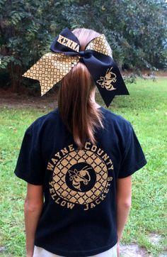 School Spirit T shirt - Chevron, Quatrefoil, or Scallop Print, Black and Gold Wayne County Yellow Jackets, Jesup Ga by PoshPrincessBows1 on Etsy https://www.etsy.com/listing/207566010/school-spirit-t-shirt-chevron-quatrefoil