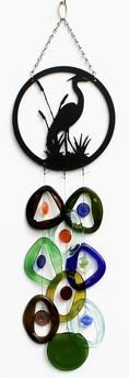 Metal Topped Wind Chimes by Bottle Benders. American Made. See the designer's work at the 2016 American Made Show, Greenville SC May 17-19, 2016. americanmadeshow.com #americanmadeshow, #americanmade, #recycled, #recycledglass, #windchime, #heron, #bird