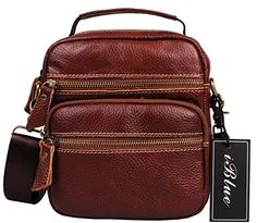 becb5001f Iblue Top Cow Leather Fashion Unisex Multi-pocket Crossbody Purse Bag 8  Inch #5004 (dark coffee): Handbags: Amazon.com