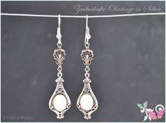 Vintage Ohrhänger - Vintage Ohrhänger SIlber weiß opal Muschel lang - ein Designerstück von Zauberhafte-Ohrringe-in-Silber bei DaWanda