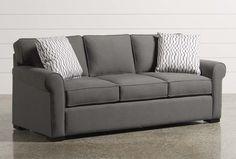 Mia Memory Foam Queen x x Living Spaces Furniture, Living Room Sofa, Sofa Furniture, Beige Couch, Memory Foam Sofa, Curved Couch, Ikea Sofas, Queen Sofa Sleeper, Convertible Furniture