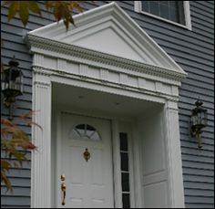 exterior vinyl pediments. our entrance systems can include plain or elaborate pediments and/or crossheads over the door exterior vinyl