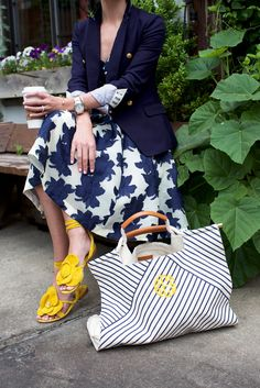 a-ok // yellow & navy | // Atlantic-Pacific Blair Eadie Click through for full outfit details! XO BEE