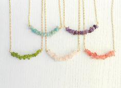 New Year SALE  Gemstone bar necklace Gemstone by SarittDesigns