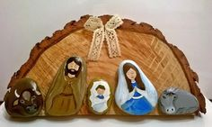 Nativity Scene Story Stones by WishesAndWonderment on Etsy Christmas Rock, Christmas Signs Wood, Christmas Nativity, Christmas Decorations, Christmas Ornaments, Christmas Bells, Simple Christmas, Nativity Crafts, Holiday Crafts