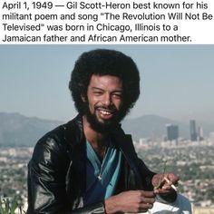 Poet and hip-hop pioneer Gil Scott-Heron. Gil Scott Heron, Spiritus, Black History Facts, I Love Music, Black Pride, African American History, Black Power, Black People, Black Is Beautiful